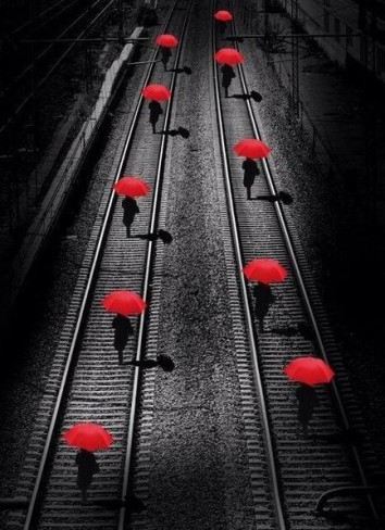 Red Umbrellas by Georgio Bisetti